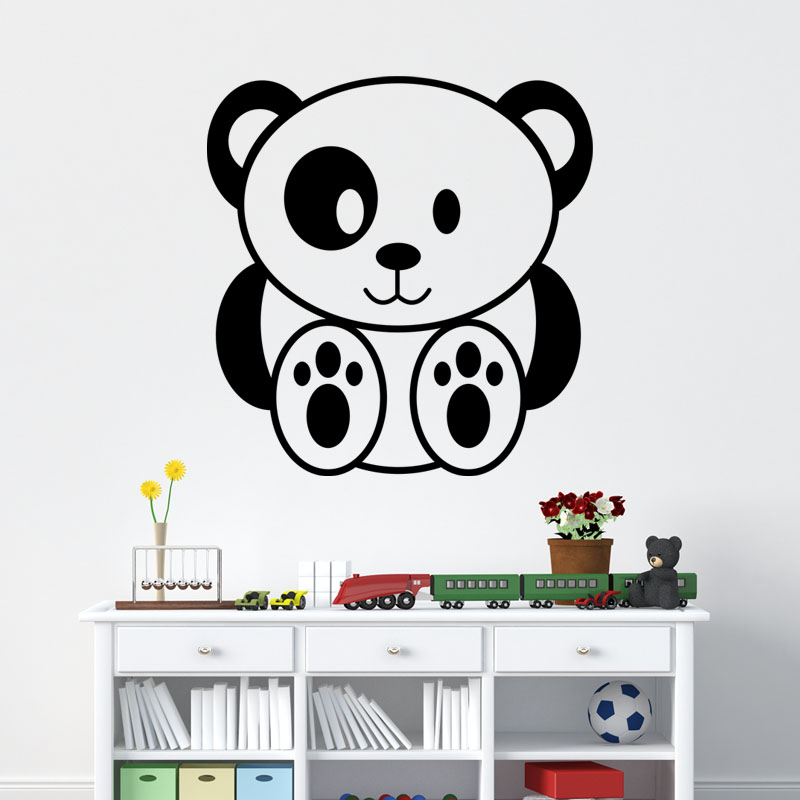 Sticker panda b b stickers animaux animaux de la jungle for Stickers panda chambre bebe