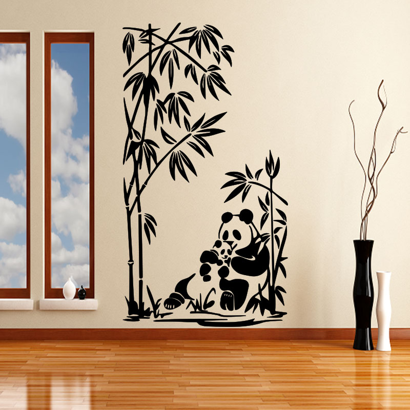 Sticker pandas et bambou stickers nature bambous for Stickers muraux