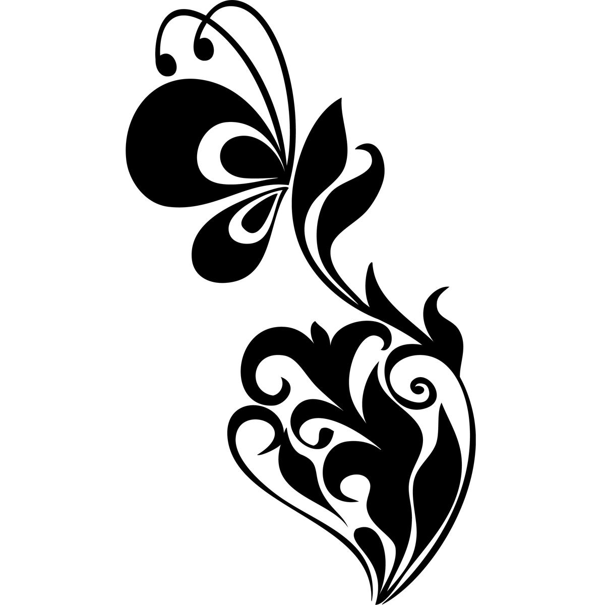 Stickers muraux animaux sticker papillon baroque - Stickers baroque pour meuble ...