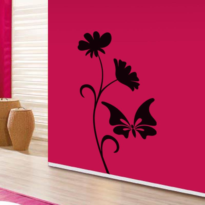 stickers muraux animaux sticker papillon et fleur ambiance. Black Bedroom Furniture Sets. Home Design Ideas
