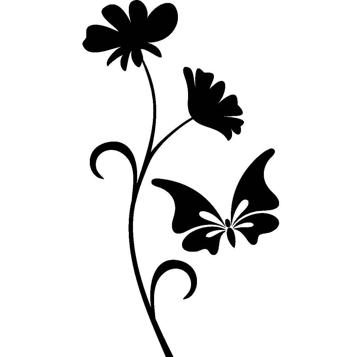 Stickers muraux animaux sticker papillon et fleur - Image papillon et fleur ...