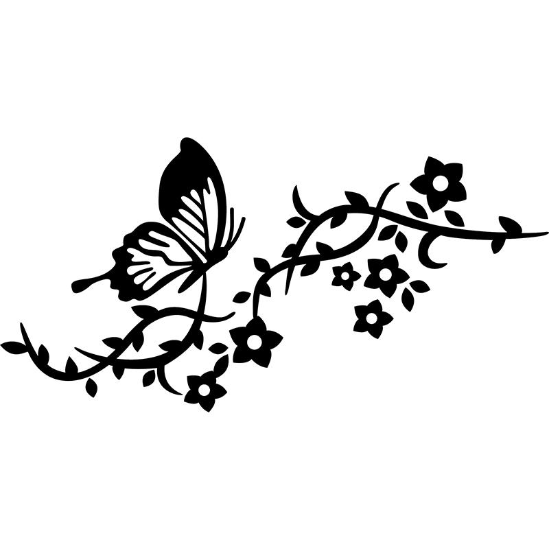 Sticker papillon fleurs et feuilles stickers nature - Image papillon et fleur ...