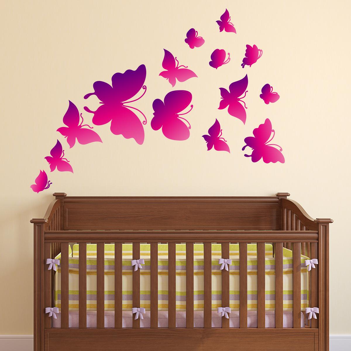 Sticker Papillons D Grad Rose Et Violet Stickers Animaux