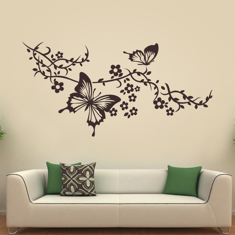 stickers muraux animaux sticker papillons sur branche fleurie ambiance. Black Bedroom Furniture Sets. Home Design Ideas