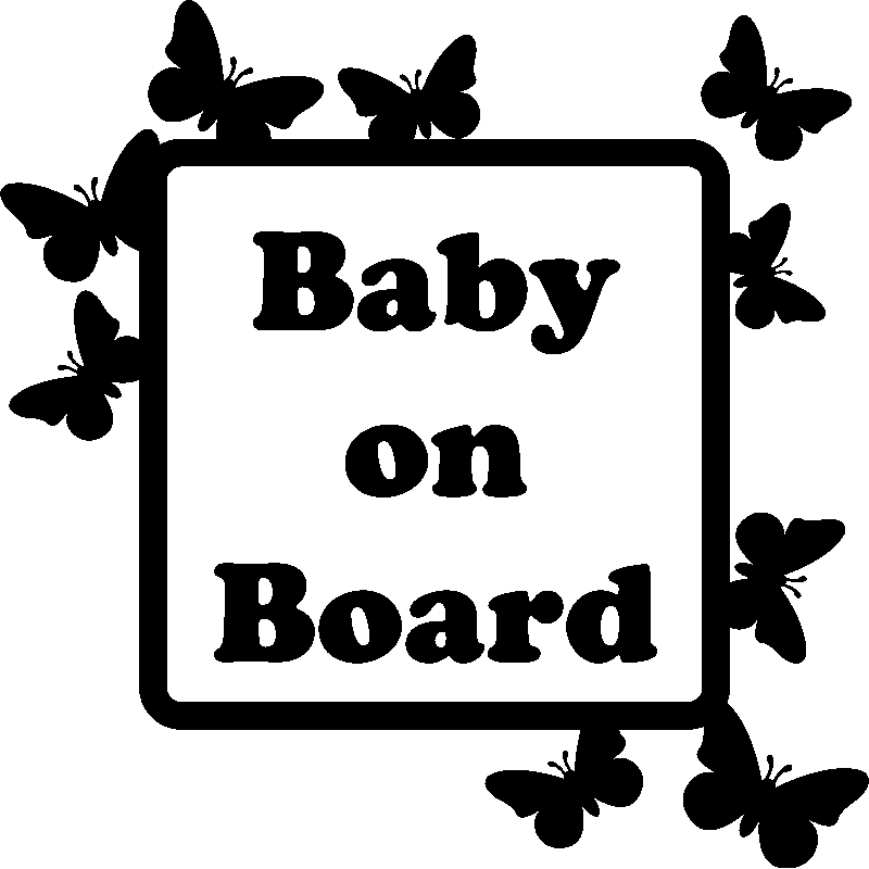 sticker papillons sur cadre baby on board stickers citations ambiance sticker. Black Bedroom Furniture Sets. Home Design Ideas
