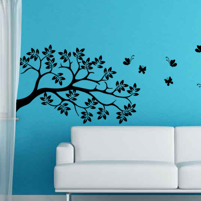 Stickers muraux fleurs sticker papillons survolant un - Stickers muraux arbre ...