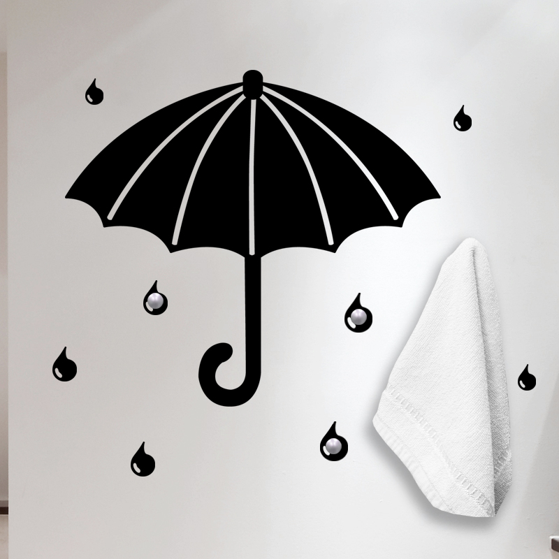 stickers portes manteaux sticker mural parapluie et des. Black Bedroom Furniture Sets. Home Design Ideas