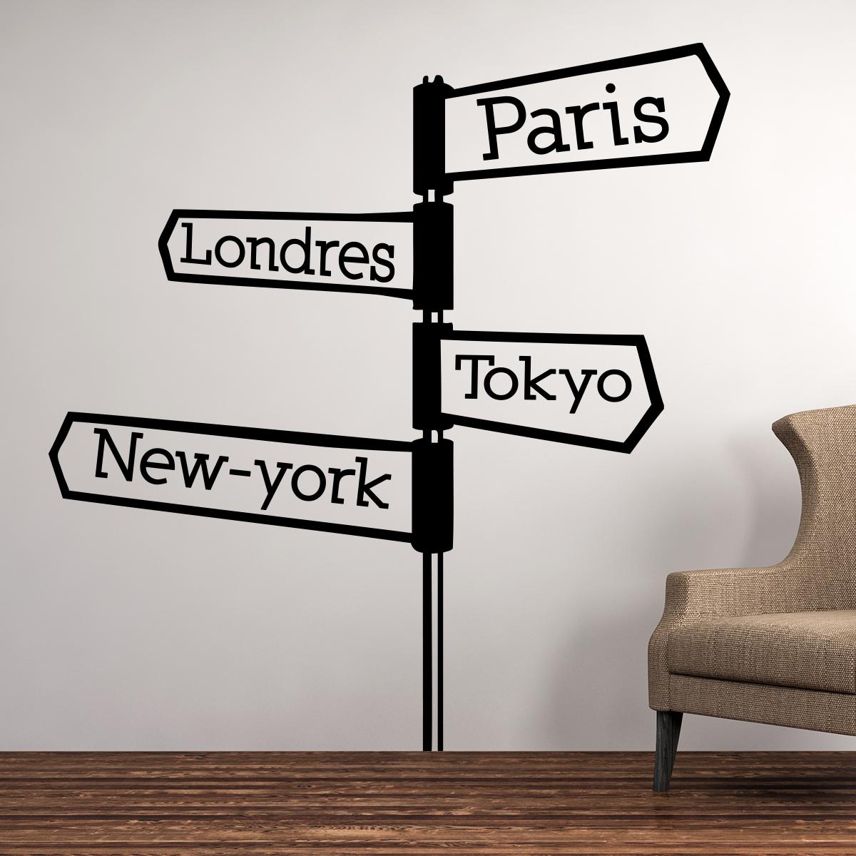 sticker paris londres tokyo panneau stickers villes et voyages paris ambiance sticker. Black Bedroom Furniture Sets. Home Design Ideas
