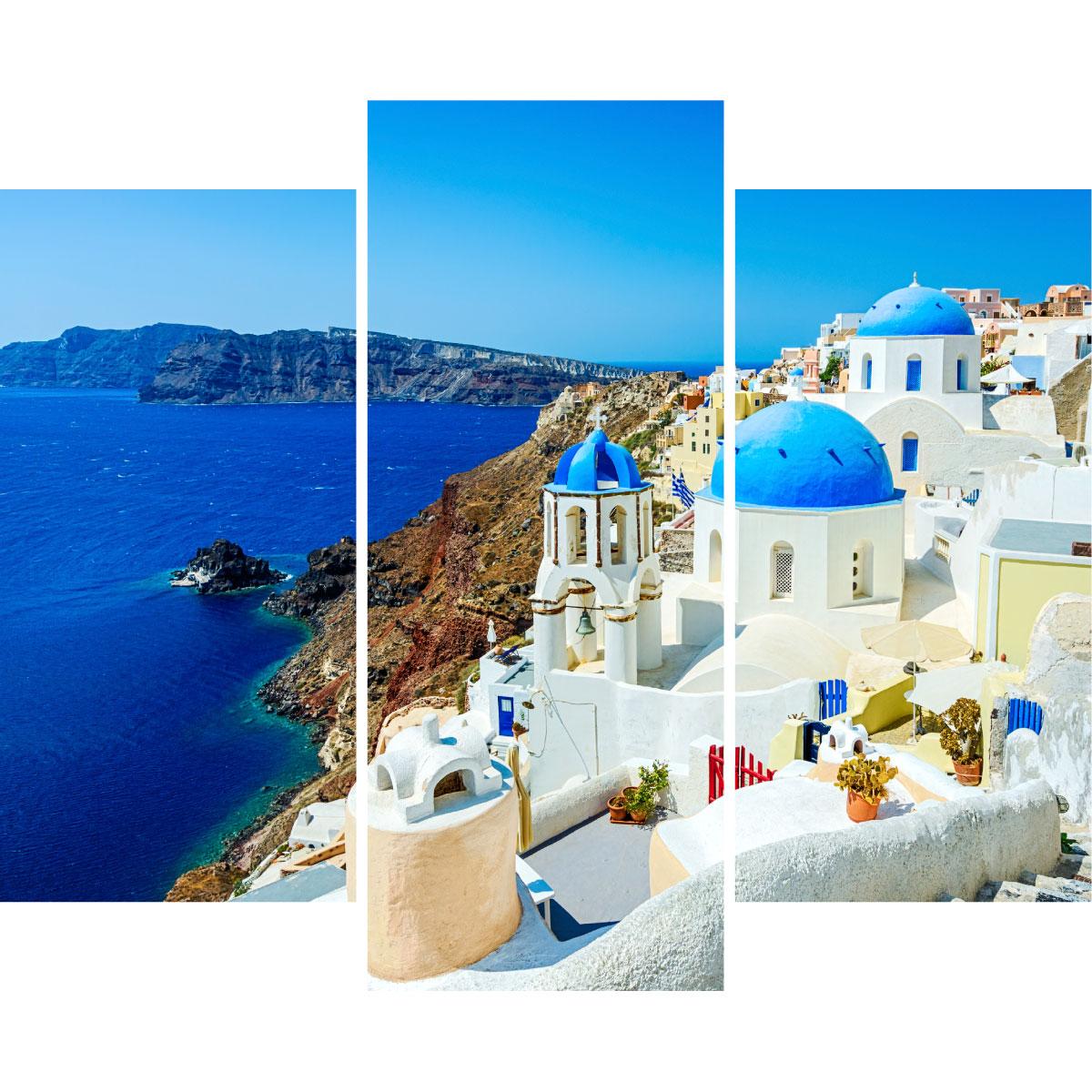 sticker paysage d une ville grecque au bord de la mer stickers art et design ambiance sticker. Black Bedroom Furniture Sets. Home Design Ideas