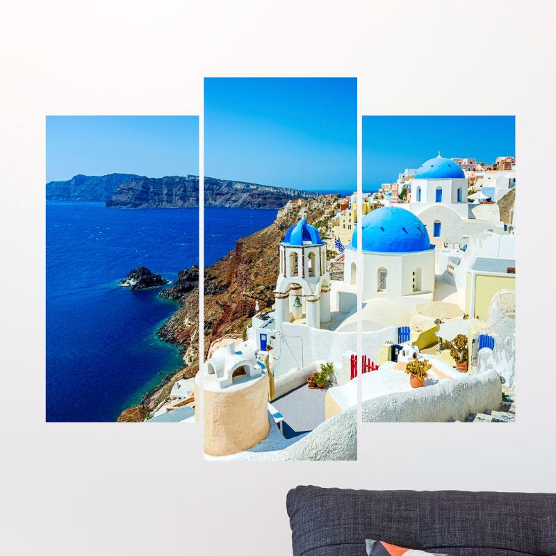 Sticker paysage d une ville grecque au bord de la mer for Paysage de ville