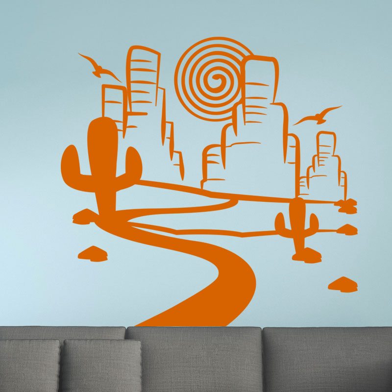 Sticker paysage far west stickers chambre ado gar on for Stickers muraux chambre ado garcon
