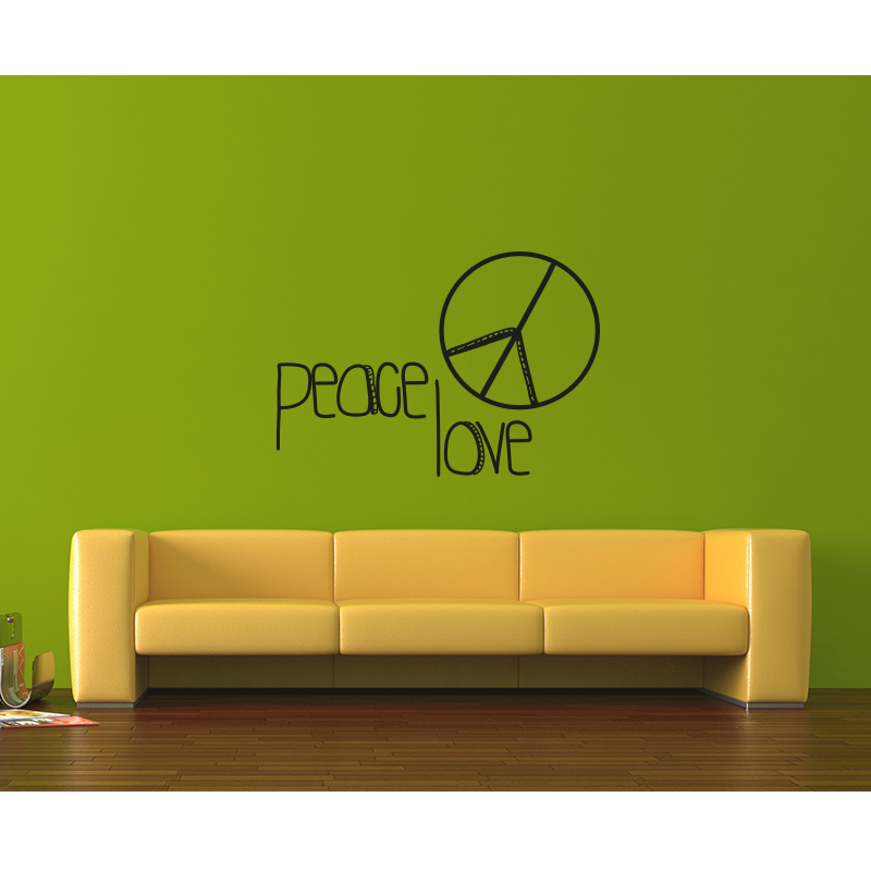 stickers muraux citations sticker peace and love. Black Bedroom Furniture Sets. Home Design Ideas