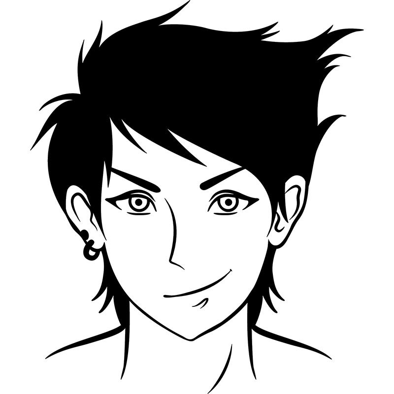 Sticker personnage manga avec boucle d 39 oreille stickers dessins anim s mangas ambiance sticker - Image de personnage de manga ...