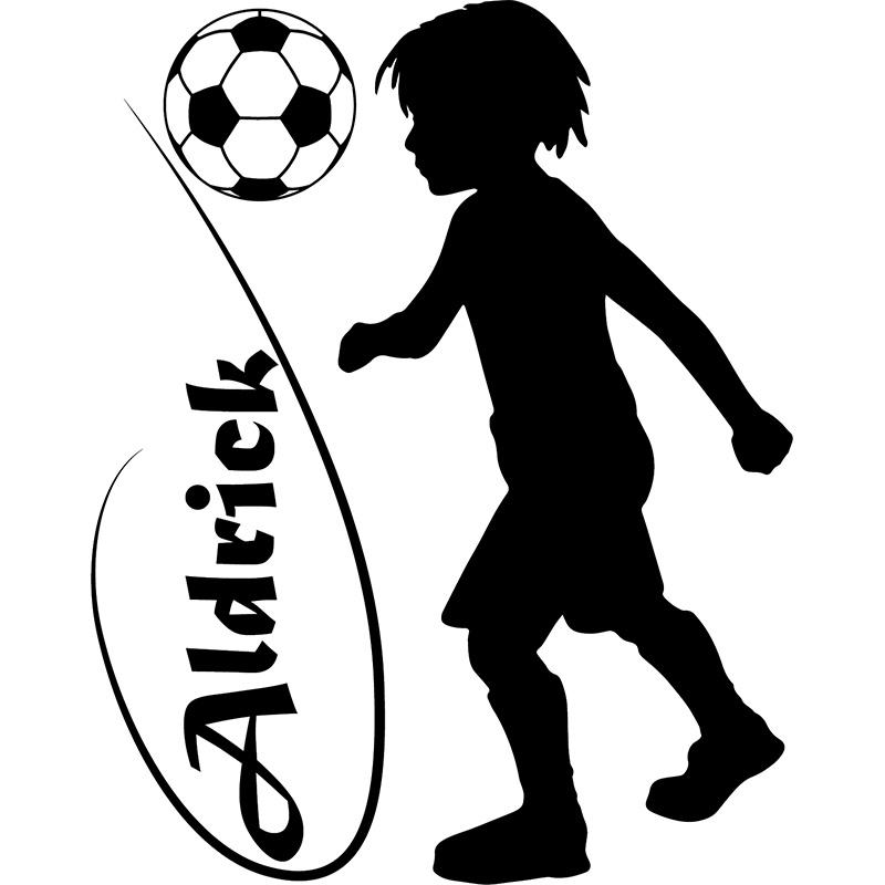 sticker personnalisable silhouette enfant jouant au foot. Black Bedroom Furniture Sets. Home Design Ideas