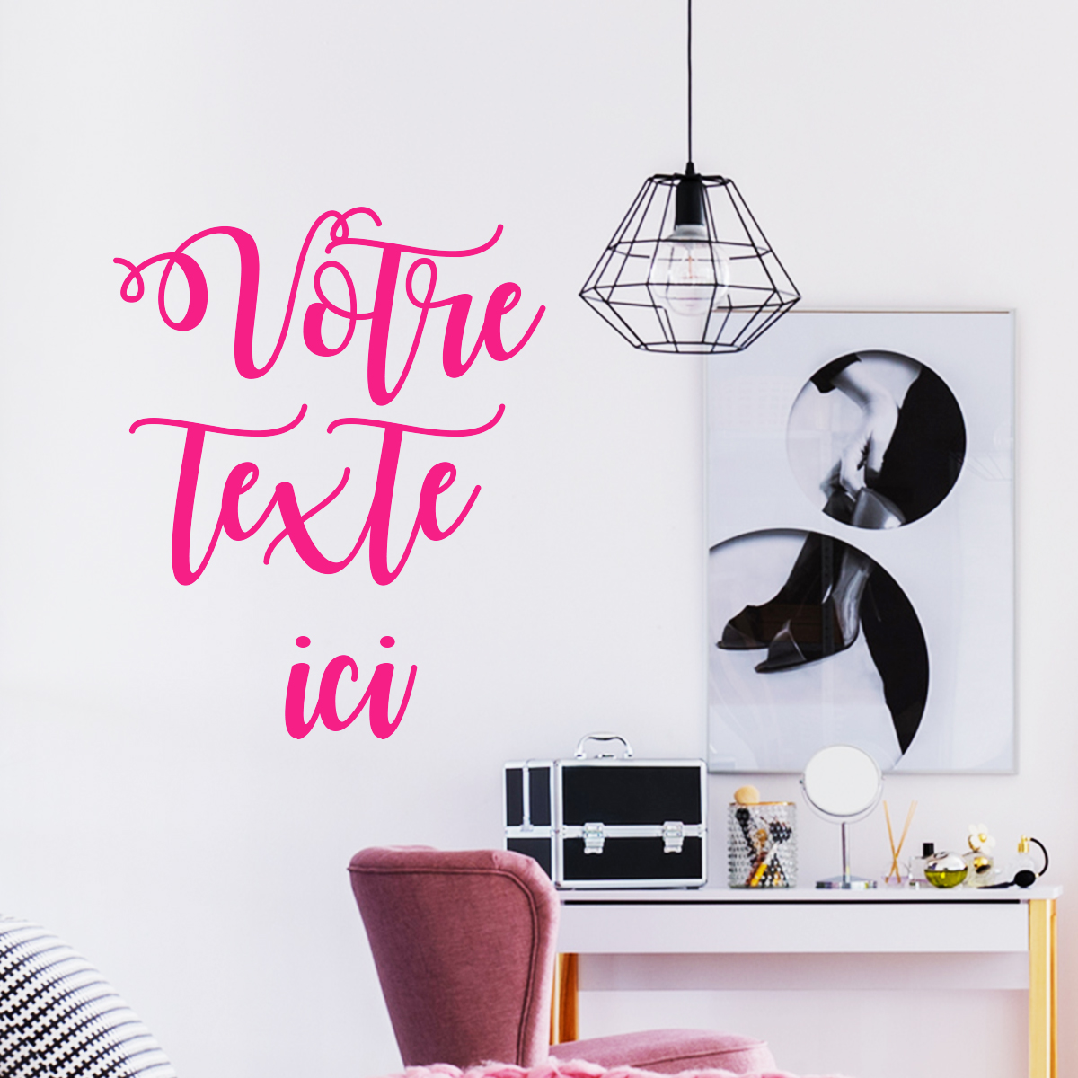 sticker personnalis avec votre texte stickers chambre. Black Bedroom Furniture Sets. Home Design Ideas