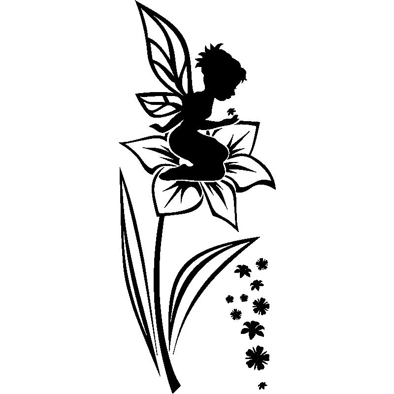 Sticker petite f e assise sur la fleur stickers filles - Fee clochette assise ...