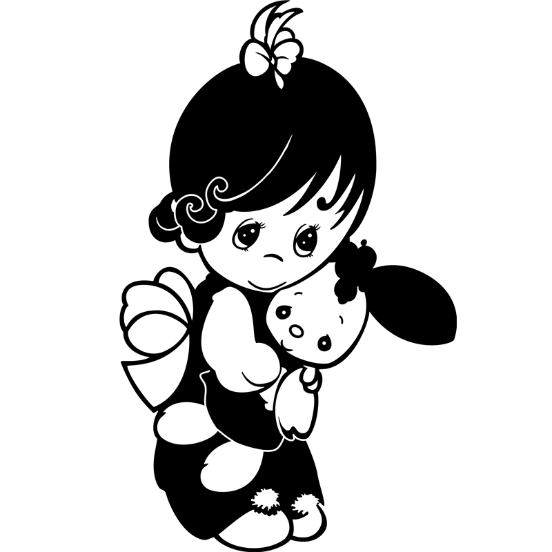 sticker petite fille avec son nounours stickers b b s fille ambiance sticker. Black Bedroom Furniture Sets. Home Design Ideas