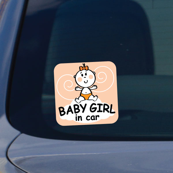 Stickers pour les b b s sticker petite fille dans la voiture ambiance - Stickers petite fille ...