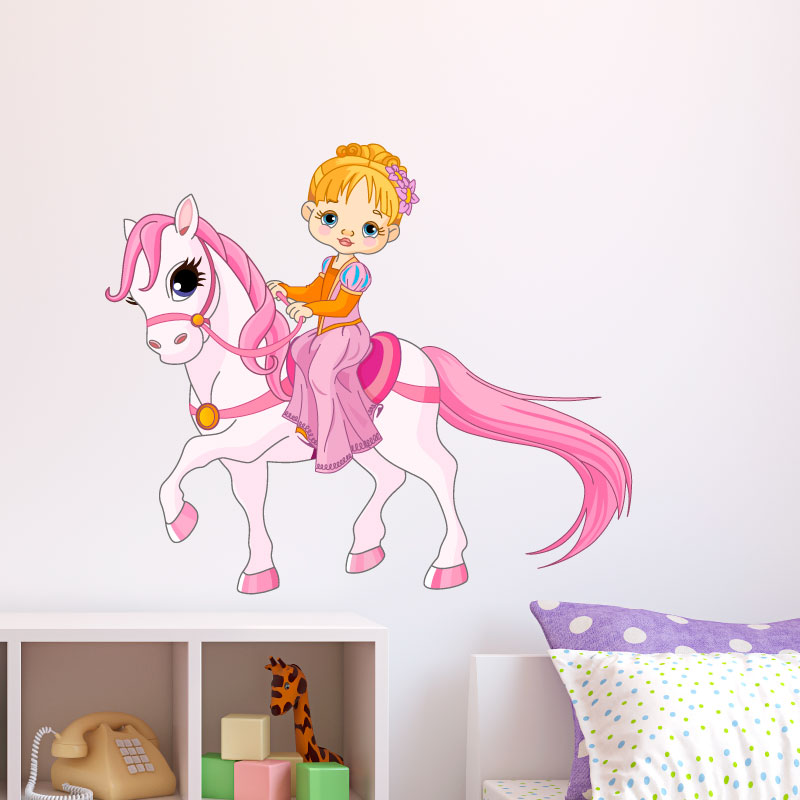 Sticker Petite Fille Et Son Poney Rose – Stickers Animaux Chevaux