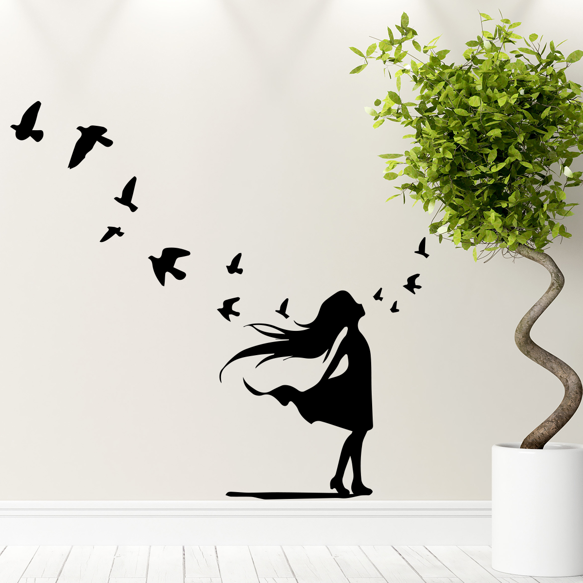 sticker petite fille et vol d 39 oiseaux animaux oiseaux. Black Bedroom Furniture Sets. Home Design Ideas