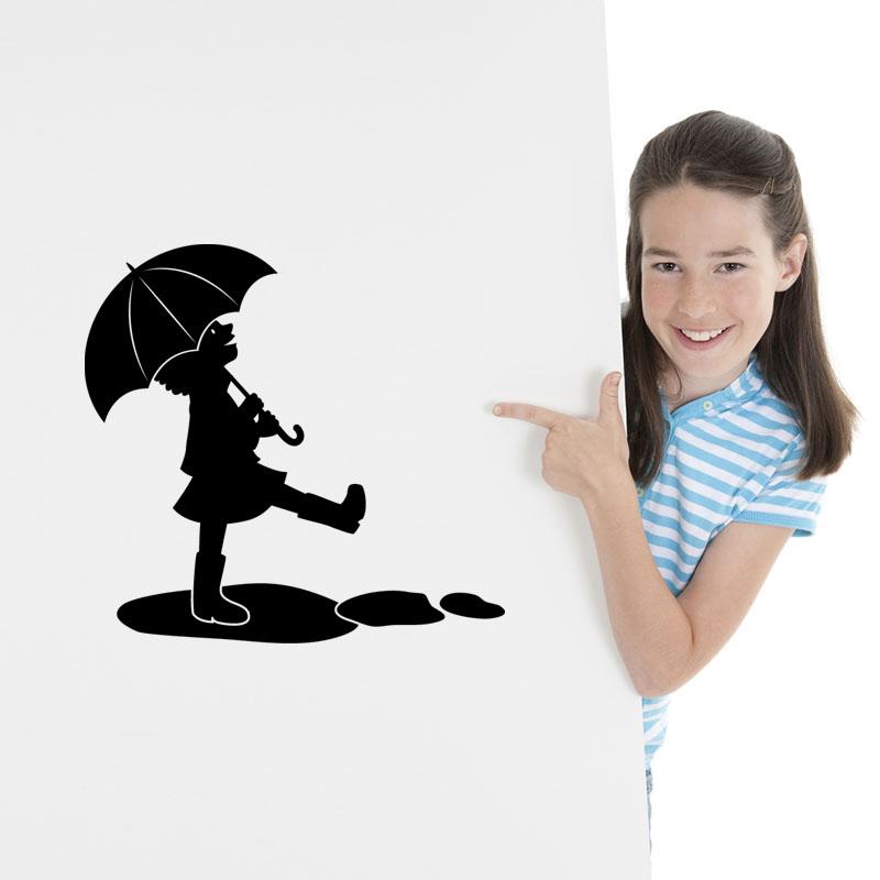 Sticker petite fille sous la pluie stickers b b s fille ambiance sticker - Stickers petite fille ...