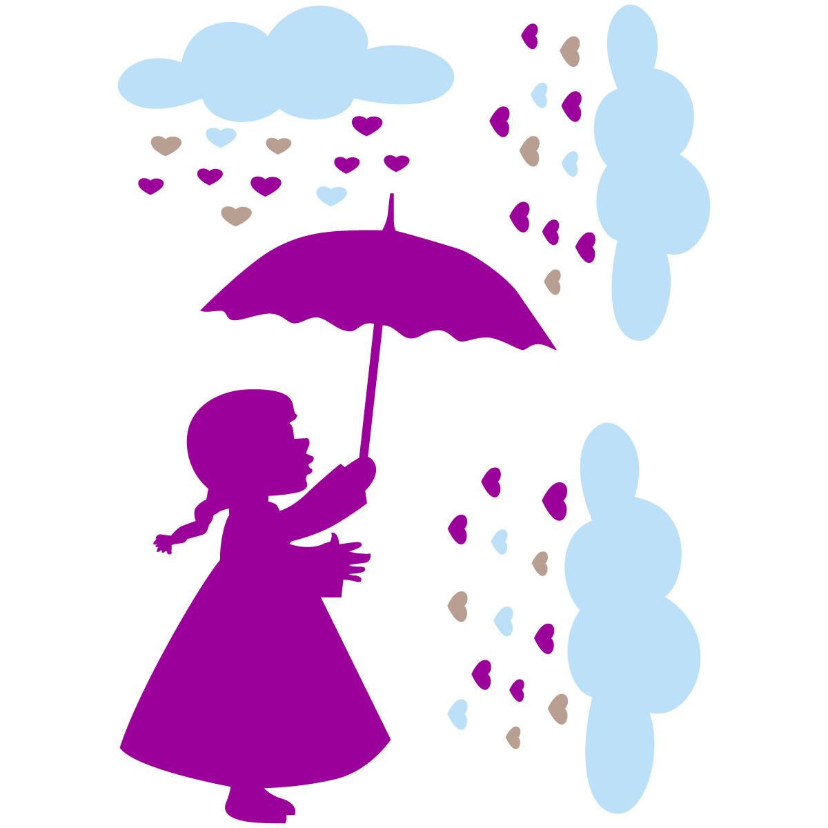 Sticker petite fille sous la pluie des c urs stickers filles ambiance sticker - Stickers petite fille ...
