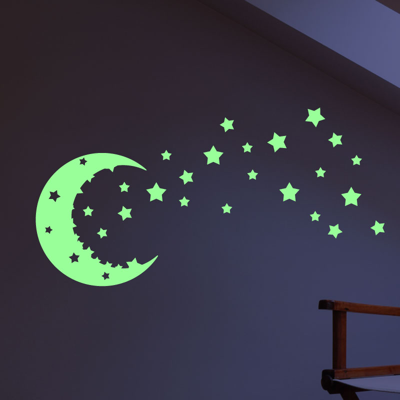 sticker phosphorescent ciel toil s et lune stickers chambre enfants phosphorescents. Black Bedroom Furniture Sets. Home Design Ideas