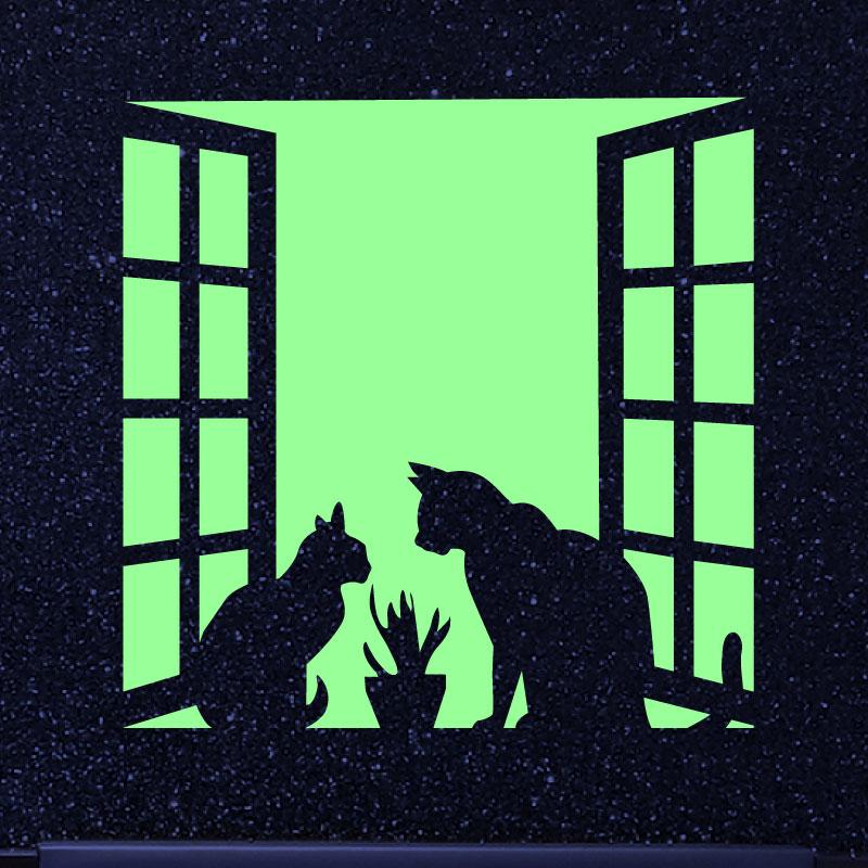 Sticker phosphorescent couple de chats sur une fen tre for Ferme la fenetre