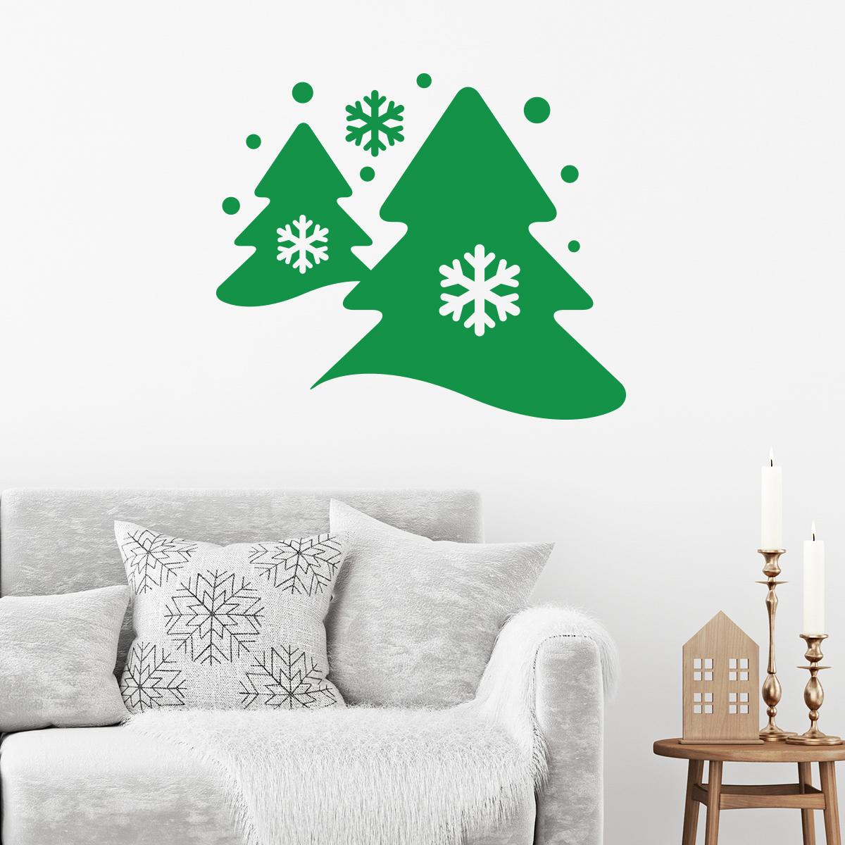 Sticker mural arbres des neiges stickers d co no l for Stickers et decoration