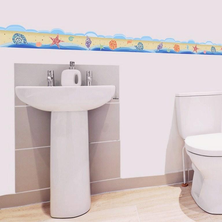 Stickers muraux pour salle de bain sticker plage mer et - Stickers muraux pour salle de bain ...
