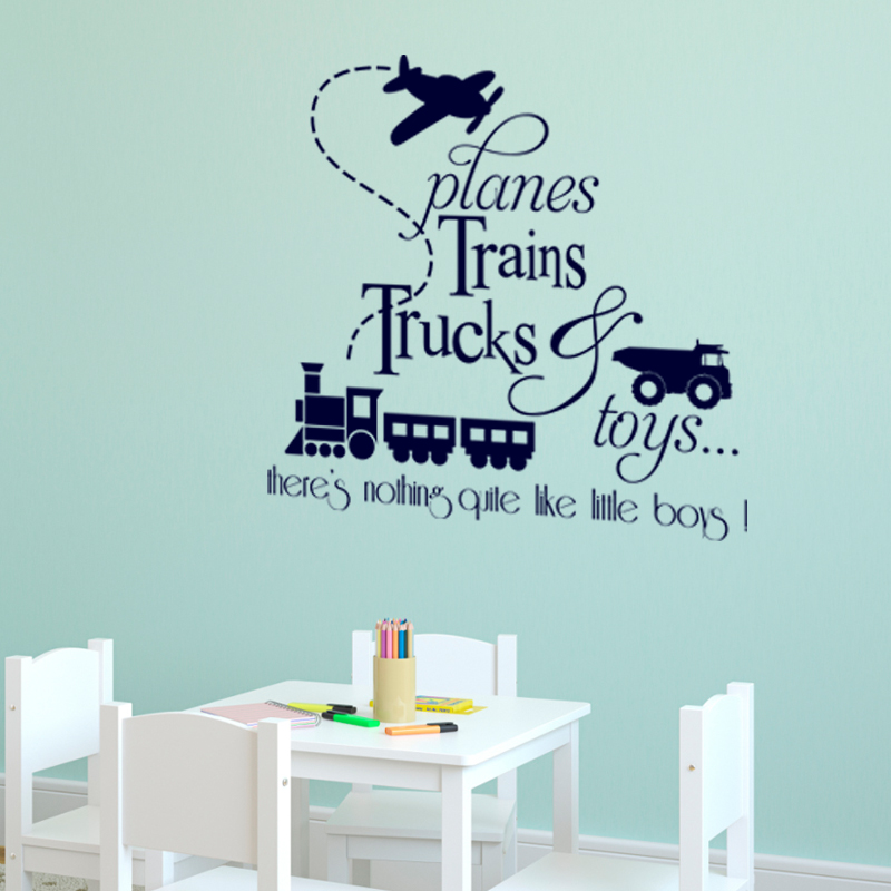Sticker Planes trains trucks toys - Stickers Citations Anglais ...