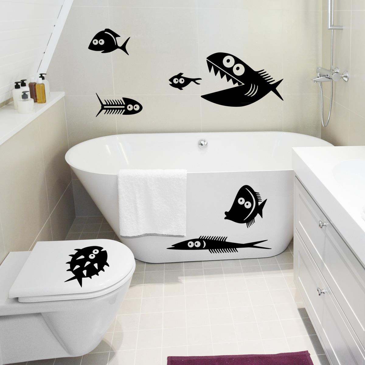 stickers muraux pour salle de bain sticker mural poissons dr les ambiance. Black Bedroom Furniture Sets. Home Design Ideas