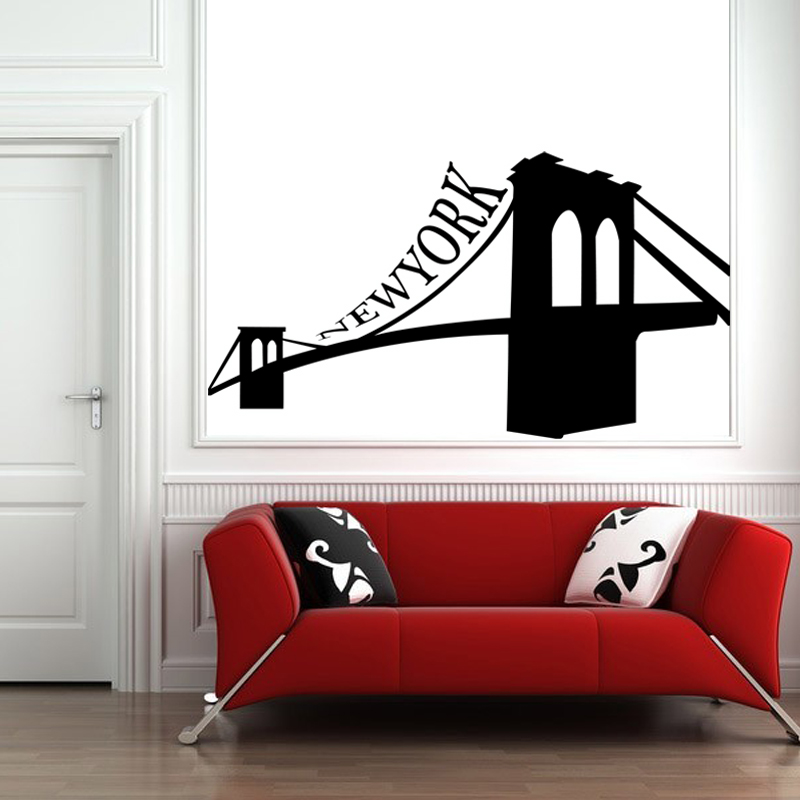 stickers muraux new york sticker pont de brooklyn ambiance. Black Bedroom Furniture Sets. Home Design Ideas