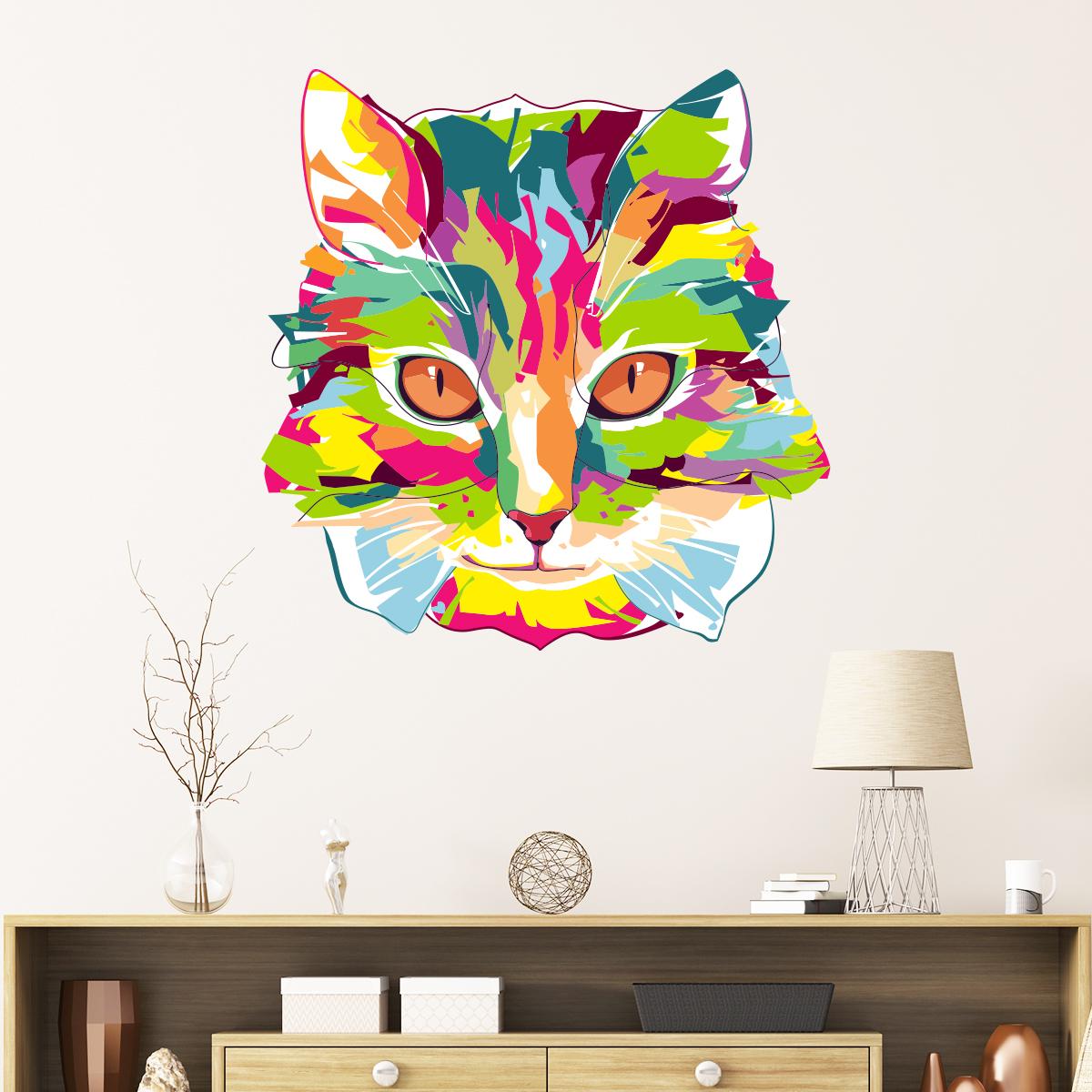 sticker pop art chat du pays imaginaire stickers animaux animaux de la ferme ambiance sticker. Black Bedroom Furniture Sets. Home Design Ideas