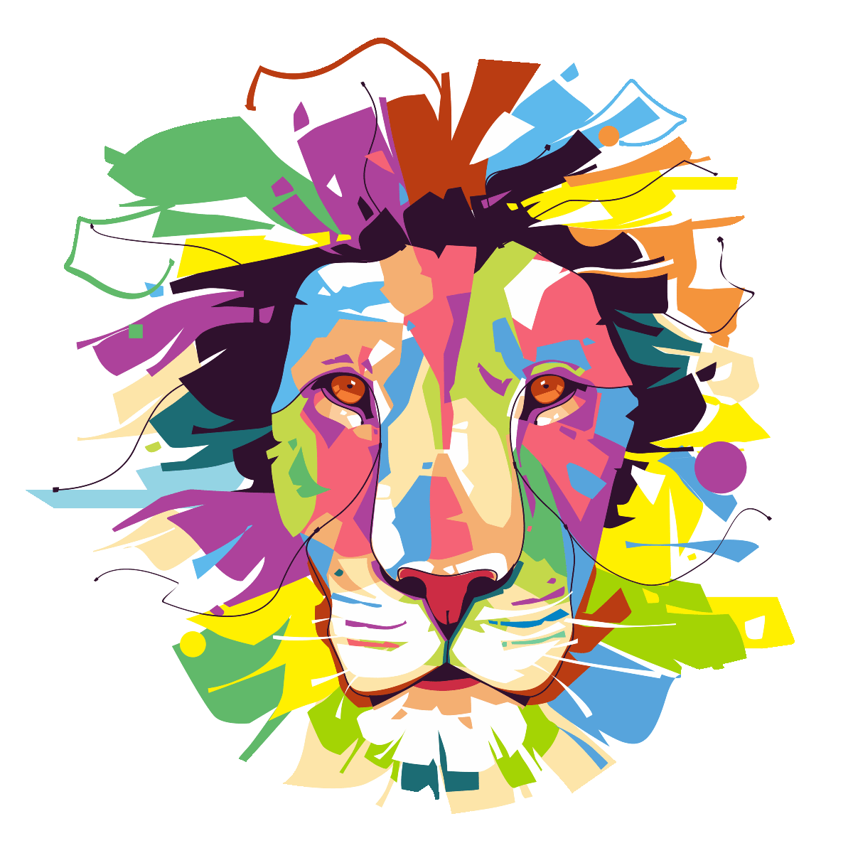 Très Sticker pop art lion majestueux – Stickers Animaux Animaux d  BM76