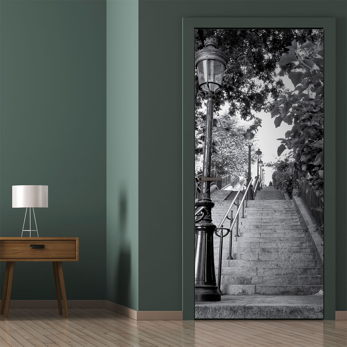 Sticker porte 204 x 83 cm escalier parisien stickers for Stickers de porte