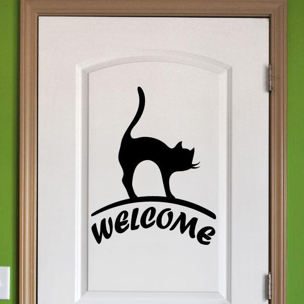 Sticker muraux pour portes sticker porte bienvenue avec for Pancarte bienvenue pour porte