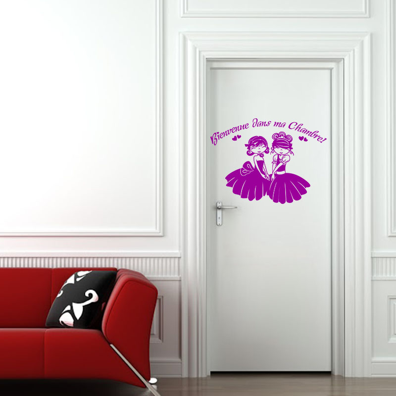 sticker porte bienvenue dans ma chambre stickers chambre ado fille ambiance sticker. Black Bedroom Furniture Sets. Home Design Ideas