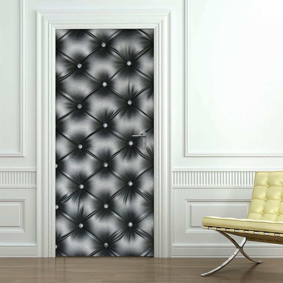 Sticker porte capitonn e chesterfield stickers art et for Decoration porte 3d