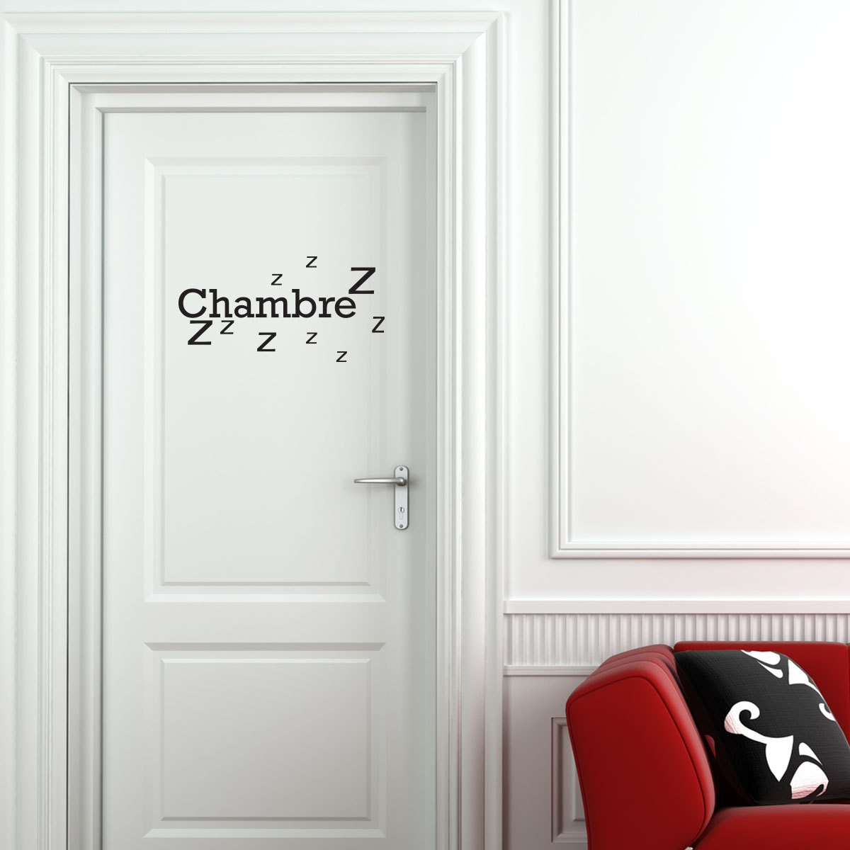 sticker porte chambre zzz stickers chambre texte. Black Bedroom Furniture Sets. Home Design Ideas
