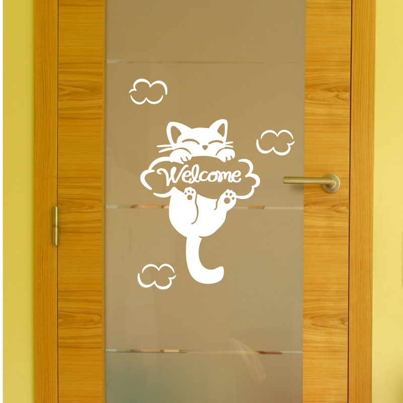 Sticker porte chat welcome stickers stickers enfants for Porte a chat