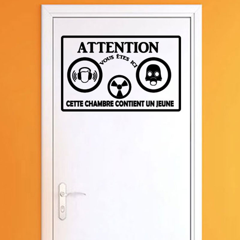Sticker porte citation attention cette chambre stickers for Stickers pour porte de chambre