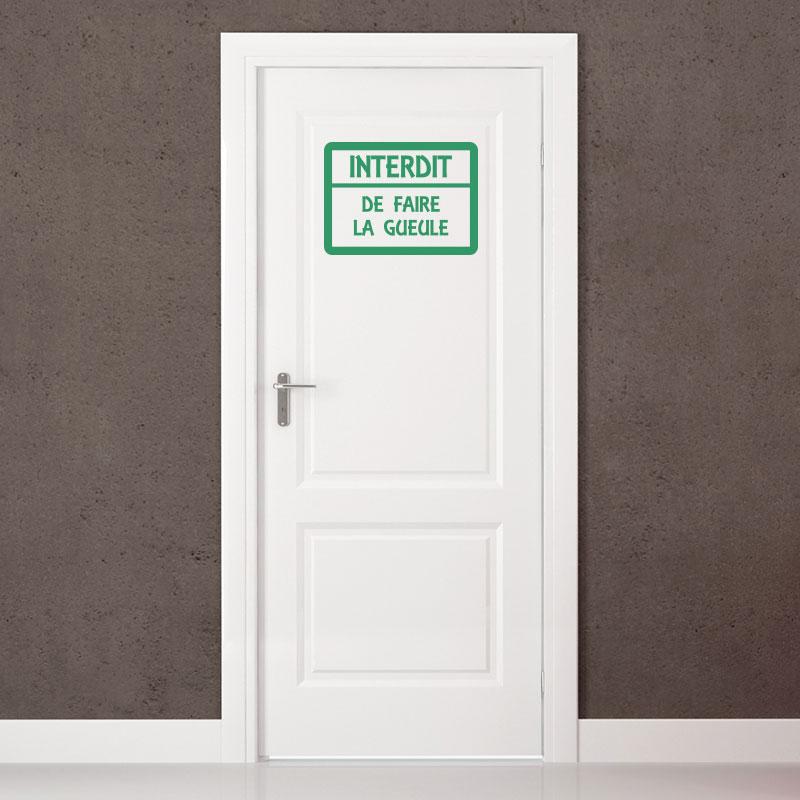 sticker porte citation interdit de faire stickers stickers muraux stickers portes. Black Bedroom Furniture Sets. Home Design Ideas