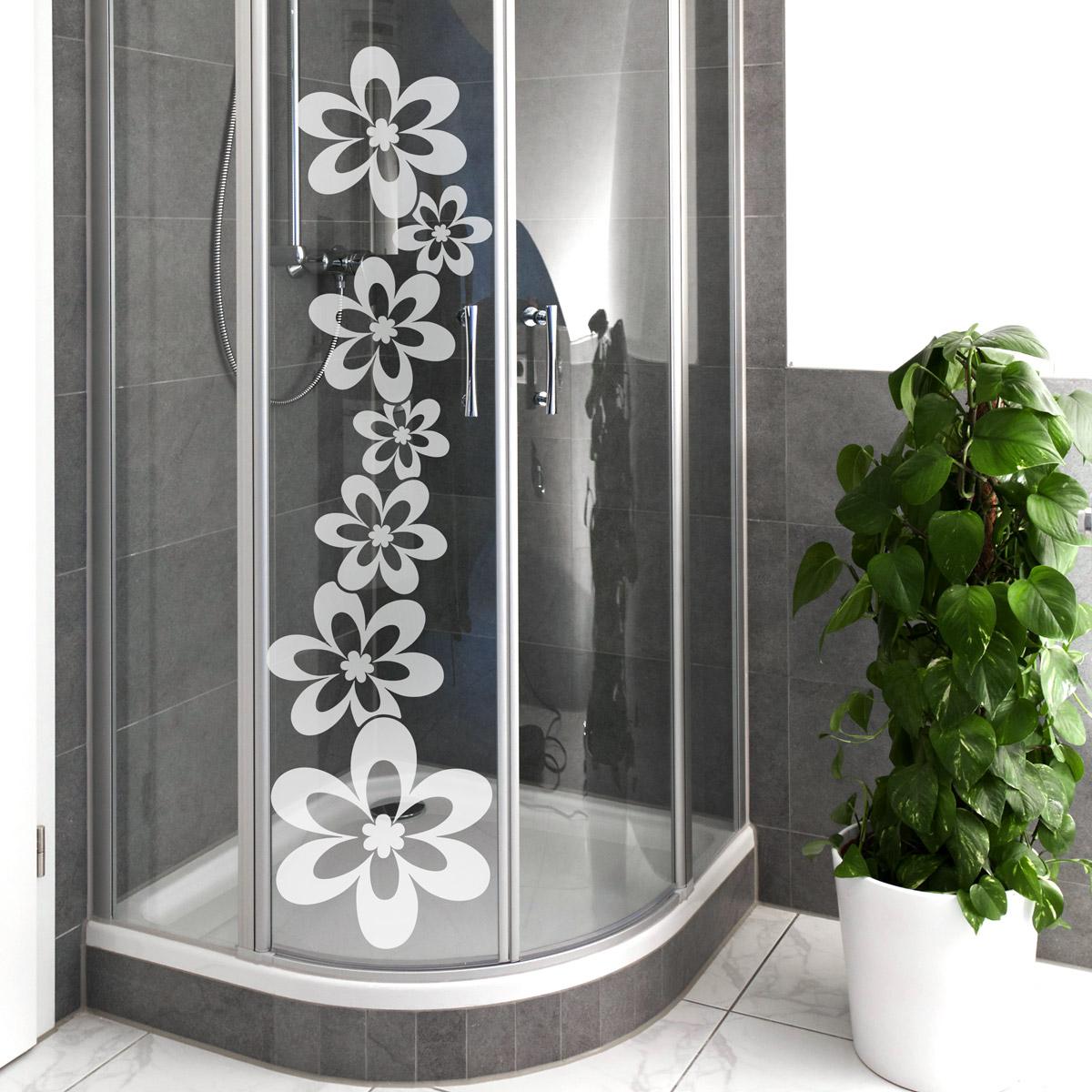 Sticker porte de douche alignement de fleurs stickers for Stickers porte de douche