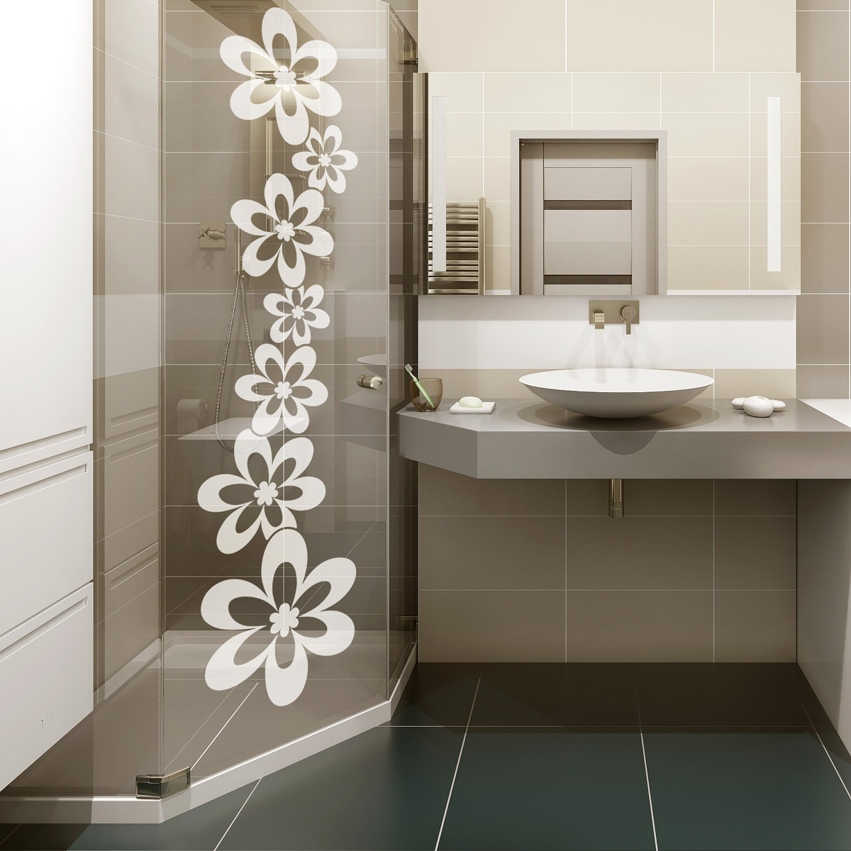 sticker porte de douche alignement de fleurs stickers nature fleurs ambiance sticker. Black Bedroom Furniture Sets. Home Design Ideas