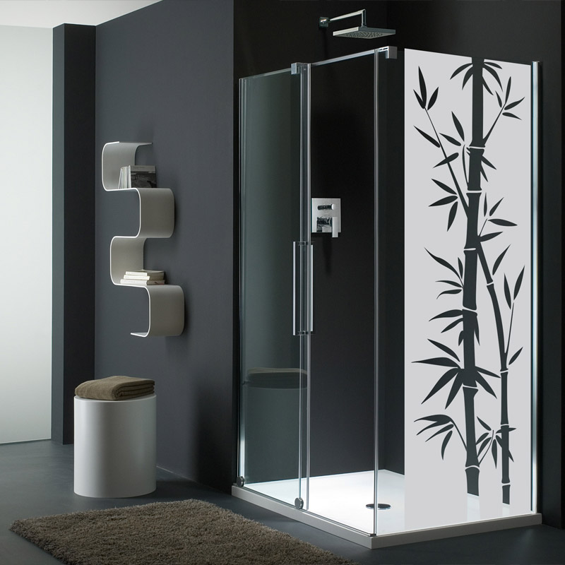 Sticker porte de douche bambou exotique stickers art et for Stickers miroir salle de bain