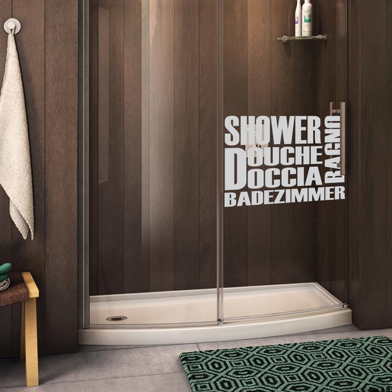 Stickers muraux pour portes douche en plusieurs langues - Porte gel douche mural ...