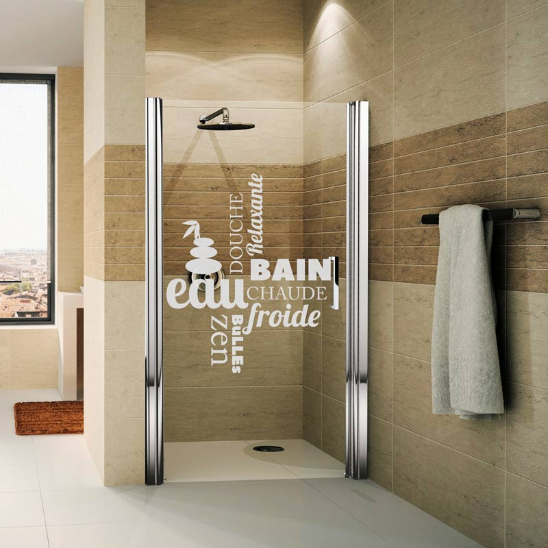 Sticker porte de douche douche zen stickers nature zen - Stickers pour porte de douche ...