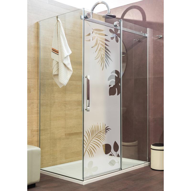 Sticker porte de douche feuilles exotiques stickers art - Stickers pour porte de douche ...
