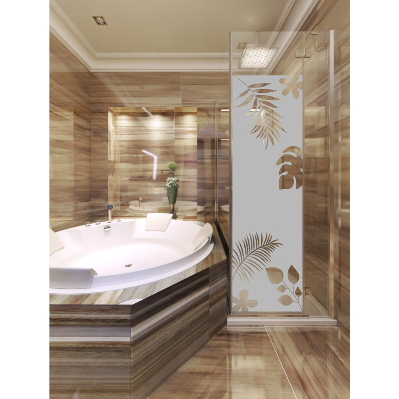 sticker porte de douche feuilles exotiques stickers art et design bandes verticales ambiance. Black Bedroom Furniture Sets. Home Design Ideas